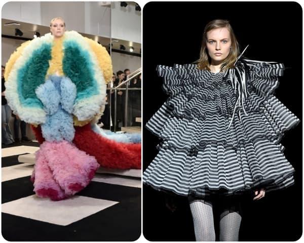 Gwendoline Christie lors du défilé Tomo Koizumi à New York / Une mannequin lors du défilé Marc Jacobs