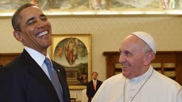 Barack Obama et le pape François lors de leur rencontre le 27 mars 2014.