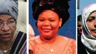 Le prix Nobel de la paix 2011 a été conjointement attribué vendredi à trois femmes (de gauche à droite), Ellen Johnson-Sirleaf, la présidente du Libéria, Leymah Gbowee, elle aussi Libérienne, et à la Yéménite Tawakkul Karman pour leur lutte non violente p
