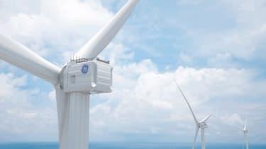 L'Haliade X sera la plus grande éolienne du monde. Elle culminera à 260 mètres, de son pied jusqu'à l'extrémité de ses pales longues de 107 mètres chacune.