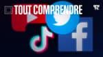 Les logos de Facebook, Twitter, YouTube et TikTok