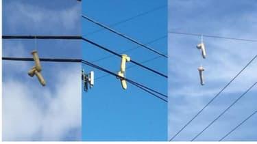 Des sextoys accrochés à un fil électrique dans le ciel de Portland.