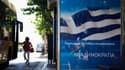 Affiche électorale dans une rue d'Athènes. Le résultat des élections législatives de dimanche en Grèce, qui pourrait décider de l'avenir du pays dans la zone euro, s'annonce très serré entre les conservateurs de Nouvelle Démocratie (ND) et la Coalition de