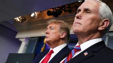 Les président et vice-président américains Donald Trump et Mike Pence le 22 avril 2020 à Washington
