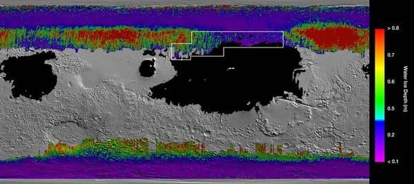 Carte montrant des zones où se trouve la glace d'eau souterraine sur Mars
