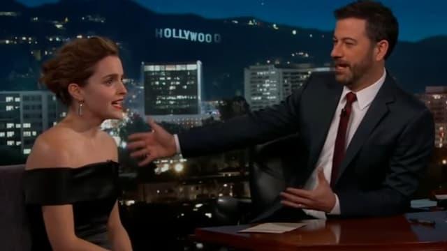Emma Watson sur le plateau de Jimmy Kimmel