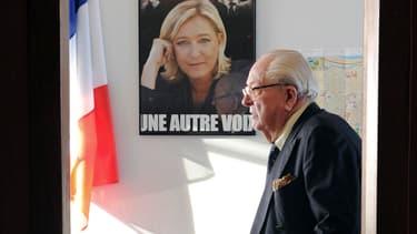 Jean-Marie Le Pen le 12 janvier 2014 au siège du parti.