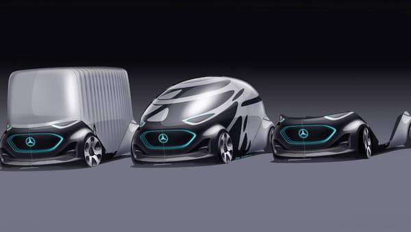 A droite se trouve la plateforme unique de ce nouveau type de transport. Elle peut être couplée avec une cabine de transports de passagers (au centre), ou de transports de marchandises (à gauche).