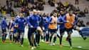 Les Troyens à l'échauffement avant leur match à Nantes en octobre 2015