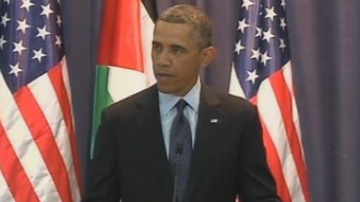 Barack Obama lors d'une conférence de presse conjointe avec le dirigeant palestinien Mahmoud Abbas à Ramallah en Cisjordanie, le 21 mars 2013