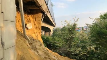 Une partie du mur de soutènement du viaduc de Gennevilliers s'est effondrée le 15 mai 2018.