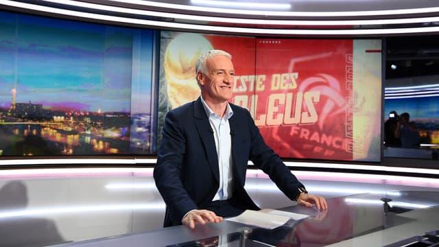 Didier Deschamps sur le plateau du JT de TF1, à Boulogne-Billancourt le 17 mai 2018