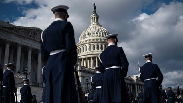 Des militaires assistent aux répétitions de la cérémonie d'investiture de Joe Biden devant le Congrès le 18 janvier 2021. (Photo d'illustration)