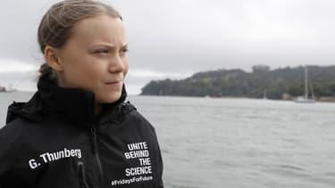 Greta Thunberg sur le bateau qui la menait à New York