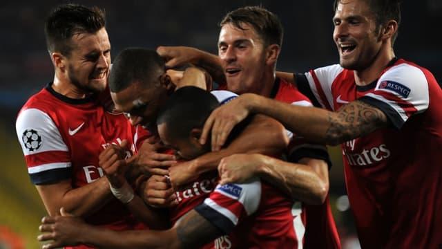 La joie des Gunners après l'ouverture du score