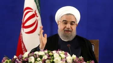 Le président iranien Hassan Rohani, lors d'une conférence de presse le 22 mai 2017 à Téhéran