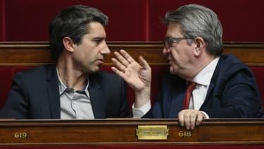 François Ruffin, à gauche, et Jean-Luc Mélenchon, à droite, le 5 février 2019 à l'Assemblée nationale à Paris.
