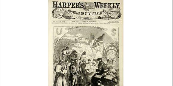 Le 3 janvier 1863, Thomas Nast présente dans le journal new-yorkais Harper's Weekly un personnage qui ne ressemble pas encore au Père Noël tel qu'on le connaît aujourd'hui.