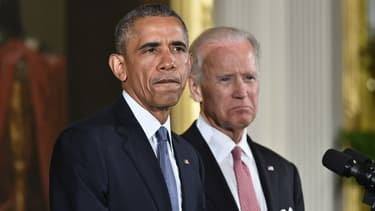 Barack Obama en compagnie de son vice-président Joe Biden