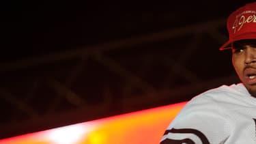 Chris Brown sur scène lors d'un concert à Port-au-Prince en juin 2014