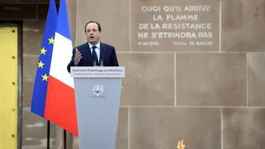 François Hollande lors d'une cérémonie d'hommage à la 2nde Guerre mondiale, le 21 février 2014 au Mont Valérien.