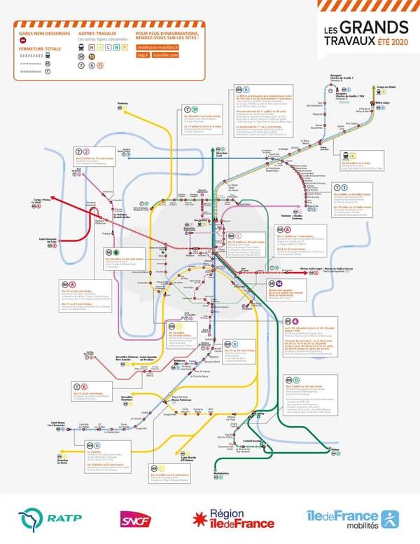 La carte des travaux dans les transports franciliens en 2020.