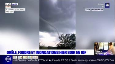 """Foudre, inondations dans le métro parisien, """"mini-tornade"""" à Étampes: les images des intempéries survenues mercredi en Ile-de-France"""