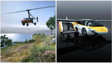 A ma gauche PAL-V , à ma droite Aeromobil. Les deux entreprises étaient présentes au salon Top Marques de Monaco cette année