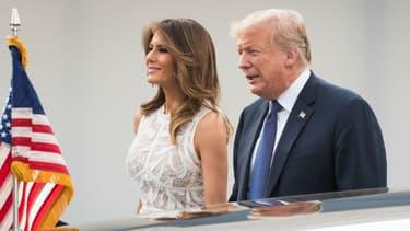 Melania et Donald Trump lors de leur arrivée au Parc du Cinquantenaire à Bruxelles pour un dîner de gala après le sommet de l'Otan le 11 juillet 2018