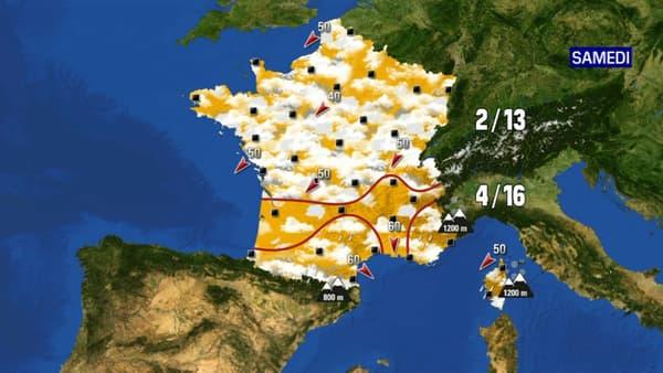 Les prévisions météorologiques du samedi 17 avril 2021.