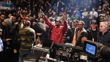 Kanye West lors de la première écoute de son album organisée au Madison Square Garden.