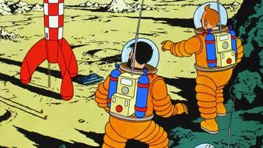Tintin et Haddock sur la Lune