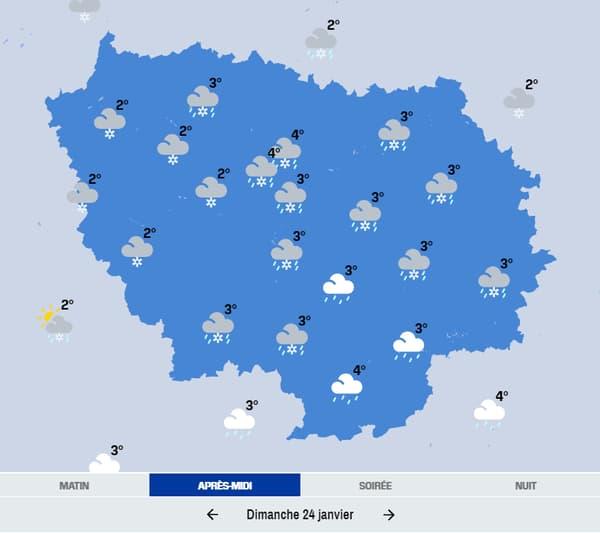La météo de dimanche en Ile-de-France.
