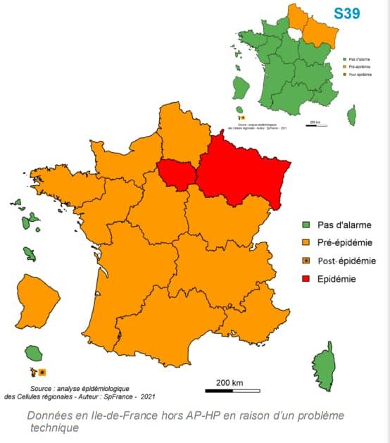 Niveau d'alerte régional de la bronchiolite, chez les enfants de moins de 2 ans, en semaine 40