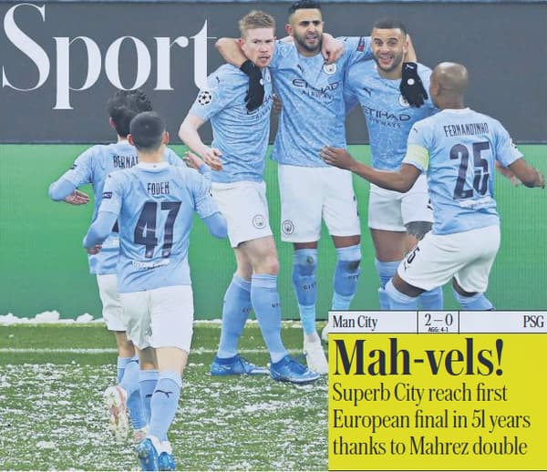 La une du cahier Sport du Telegraph