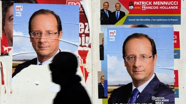 Une affiche de campagne de François Hollande en 2012