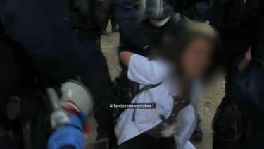Une image de l'interpellation musclée de l'infirmière, aux Invalides. - BFMTV