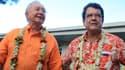 Gaston Flosse (à gauche), accompagné d'Edouard Fritch, élu président de l'Assemblée de Polynésie, le 5 mai 2013.