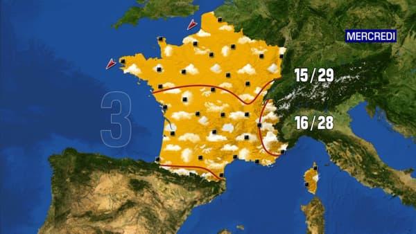 Les prévisions météorologiques du mercredi 3 juin 2020.