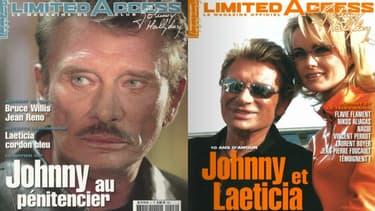 """Deux couvertures du magazine trimestriel """"Limited Access"""", édité par le fan-club de Johnny Hallyday."""