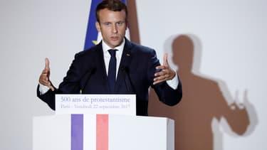 Le Président Emmanuel Macron, lors d'un discours à l'Hôtel de Ville de Paris pour le 500e anniversaire de la réforme protestante, le 22 septembre 2017.