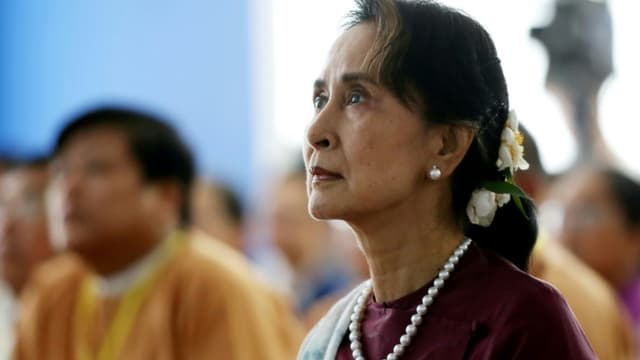 Aung San Suu Kyi le 17 juillet 2019 à Rangoun (Birmanie).