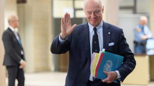 L'émissaire de l'ONU Staffan de Mistura lors des négociations sur la Syrie à Genève, le 1er mars 2017