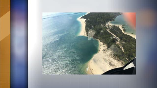 L'érosion de la plage d'Inskip Point en Australie, visible depuis un hélicoptère.