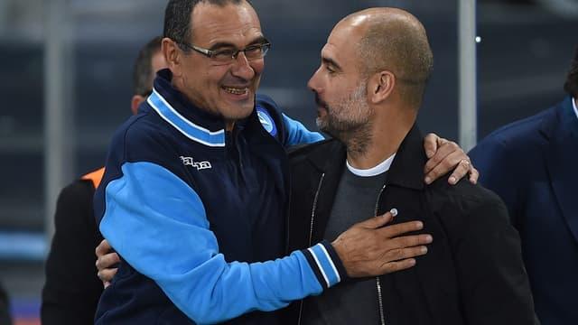 Maurizio Sarri et Pep Guardiola
