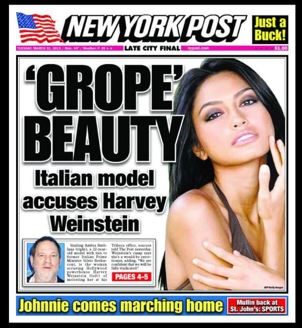 La une du tabloid le New York Post, sur le mannequin Ambra Gutierrez., en mars 2015.