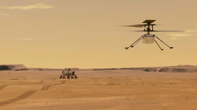 Illustration fournie par la Nasa de l'hélicoptère Ingenuity, qui doit tenter son premier vol sur Mars dans la nuit de dimanche à lundi, sous le regard du rover Perseverance (photo d'illustration)