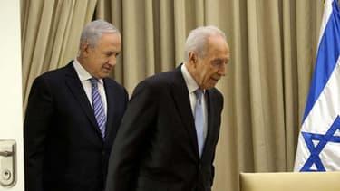 Shimon Peres et Benjamin Netanyahu à Jérusalem le 2 mars 2013.