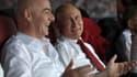 Vladimir Poutine et le président de la Fifa Gianni Infantino dans les tribunes lors de la finale de la Coupe du monde, le 15 juillet 2018.