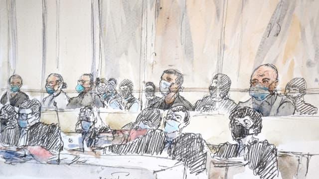 Les accusés du procès des attentats de janvier 2015 et leurs avocats, le 2 septembre 2020 au tribunal de Paris.